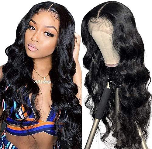 Parrucca umani naturale wavy lunghi Middle lace front wig human hair wigs body wave capelli veri al 100% umani brasiliani vergini neri 26inch/65cm