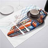 Manteles individuales lavables resistentes al calor, estilo de dibujos animados de coches Speeding Racing Car Event Cham, manteles de mesa para restaurantes y fiestas, juego de 4