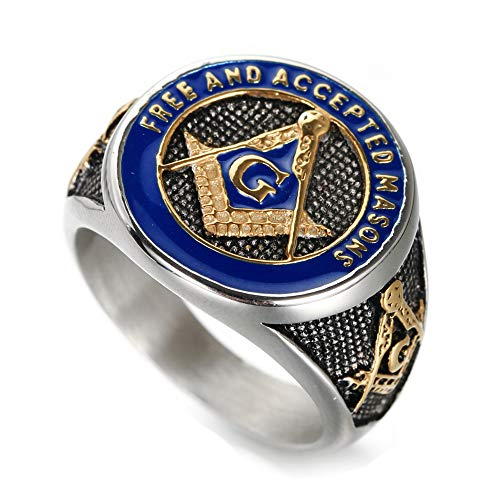 INRENG Men's Stainless Steel Vintage Freemason Masonic Biker Rings Blue Free and Accepted Masons Ring Band Gold Size 10
