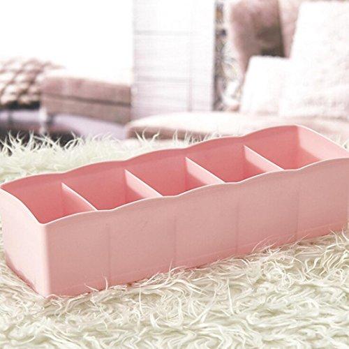 Sunnymi - Cajón multiusos de 5 celdas, organizador de plástico para calcetines, cajones, organizador de cosméticos, buena calidad (rosa)