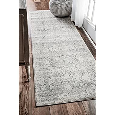 nuLOOM Traditional Vintage L Ornament Bd21 Runner Area Rugs, 2' 7  x 8', Ivory
