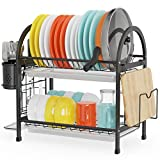 Cambond Dish Drying Rack, 2 Tier Dish Rack with Pot Holder, Pan Rack Organizer, Drain Board, Utensil Holder and Cutting Board Holder, Rustproof Dish Drainer for Kitchen Countertop, Black