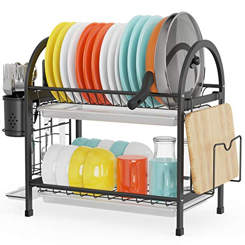 Cambond Dish Drying Rack 2 Tier Dish Rack with Pot Holder Pan Rack Organizer Drain Board Utensil Holder and Cutting Board Holder Rustproof Dish Drainer for Kitchen Countertop Black