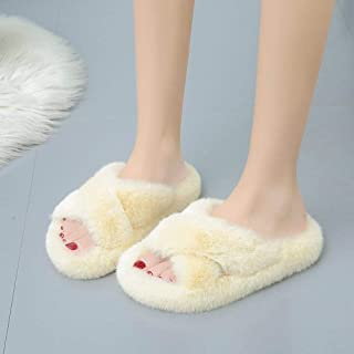 Zquest Mens Work Boots,Ladies Fur Slippers, Outer Wear Cotton Slippers In Autumn And Winter-Creamy-White_40