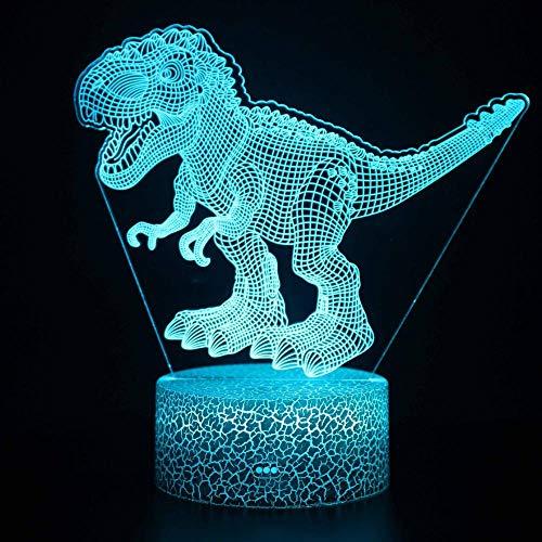 XDOUBAO Dino Light Dinosaur Series 3D Noche Lámpara Control Remoto Toque Colorido Tacto Creativo Regalo Escritorio de la Cama Decoración Dormitorio-3060_16 Colores remotos