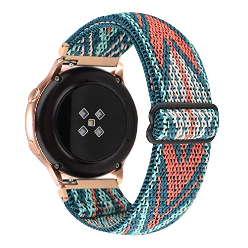 20mm Adjustable Elastic Band Compatible with Samsung Galaxy Active 2/Galaxy Watch Active/Galaxy Watch 3(41mm) Women Stretchy Nylon Loop Replacement for Galaxy Watch 42mm (Green Arrow, 20mm)