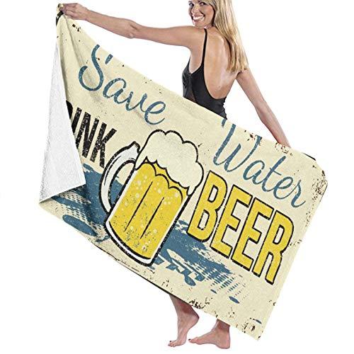 """Grande Suave Ligero Toalla de Baño Manta,Divertido Guardar Agua Beber Cerveza Letrero Metal Oxidado Vintage,Hoja de Baño Toalla de Playa por la Familia Hotel Viaje Nadando Deportes,52"""" x 32"""""""