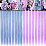 16PCS 21 '' Accesorios para el cabello de color rosa claro y morado claro Clip en extensiones de...