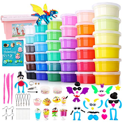 HOLICOLOR 36 Colors Air Dry Clay Kit Magic Modeling Clay Ultra Light Clay with Accessories, Tools and Tutorials for Kids DIY Crafts