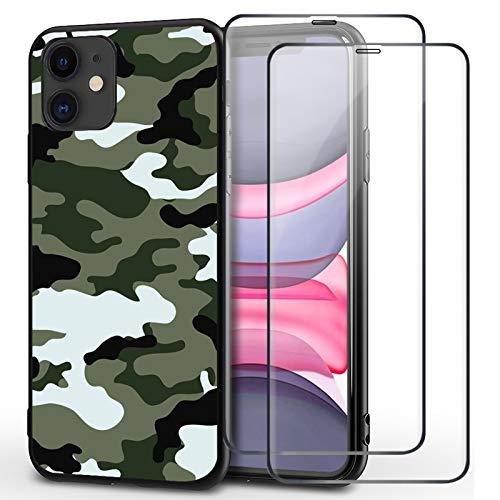 Funda para Apple iPhone 12 Pro con protector de pantalla de cristal blindado (2 unidades), silicona, diseño de camuflaje militar, flexible, antigolpes, fina funda protectora (7)