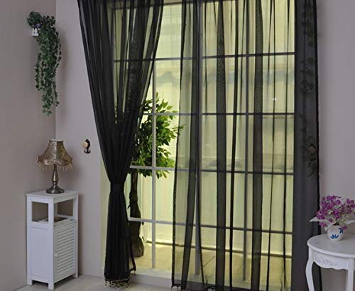 Mitef Rideau Voilage Transparent Décoration de Chambre Salon Balcon Fenêtre, 2 Panneaux, Noir, W55''x H94''/140x240cm