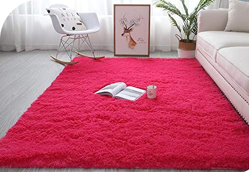 Abaseen Comfort Soft Fluffy Rugs Shaggy Large Rugs For Bedroom Living Room Carpet Study Room Area Rugs Non-Slip Indoor Floor Mat (Red, 80 x 150 cm)