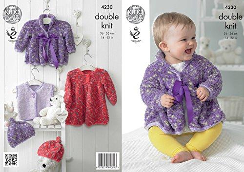 Koning Cole Knuffels DK Dubbele Breien Patroon Baby Kleding Set - Jurk Jas Taillejas & Hoed (4230)