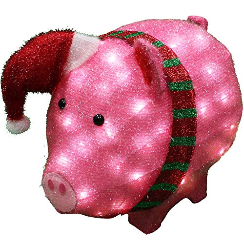 Joiedomi 21in Tinsel Pig 80 LED Warm White Yard Light for Christmas Outdoor Yard Garden Decorations, Christmas Event Decoration, Christmas Eve Night Decor