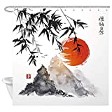 NYMB Japanese Bamboo Trees Sun and Mountains Bath Curtain, Polyester Fabric Waterproof Asian Ink Painting Shower Curtains, Shower Curtain Hooks Included, Red (69x70in)