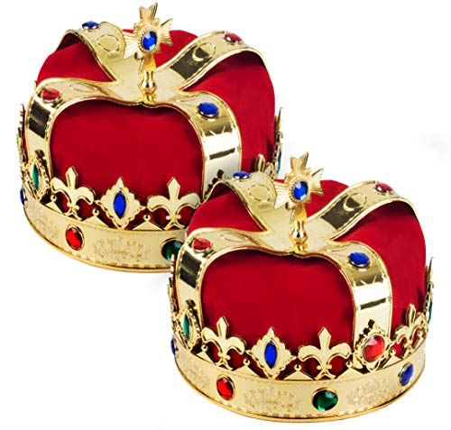 King Crown for Kids - Dress Up Hats - Gold King Crown - 2 Pack - King Costume by Funy Party Hats