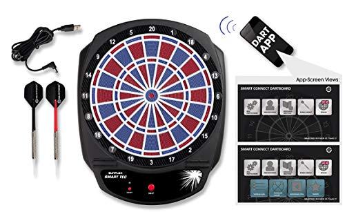 Sunflex Dartscheibe Smart Tec - elektronische Dartscheibe + 6 Pfeile und Ersatzspitzen | kabellose Verbindung zum Smartphone oder Tablet via Bluetooth 4.0