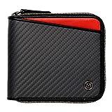 (ミラグロ)Milagro リアルカーボンF ラウンドファスナー 2つ折り財布 ( 財布 メンズ カーボン 革 ) eami013 (レッド)