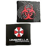 Resident Evil Umbrella Corporation Logo PU Cartera plegable monedero corto para mujeres y hombres