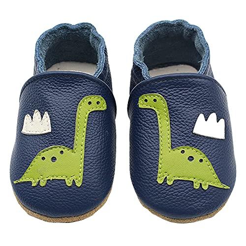 Happy Cherry- Unisex Baby First-Walking Schuhe für das Laufenlernen von Rindsleder Leder rutschfeste Cartoon Soft House Hausschuhe Krippenschuhe Blue Dinosaur Lightweight Breathable für 0-24 Monate