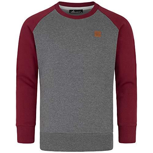 Amaci&Sons Herren Basic College Sweatjacke Pullover Hoodie Sweatshirt 4050 Anthrazit/Bordeaux XL