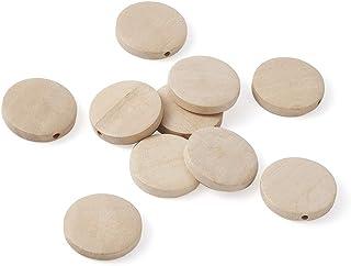 Beadthoven 10個入り/セット 25x5mm 原木色 ナチュラル系 無地 丸型 ウッドビーズ 木製ペンダント フラットラウンド 和風クラフト ボール 飾り ハンドメイド 素材 円餅形