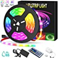LED Strip Lights ABOBO 16.4ft/10m 5050 RGB Color Changing Lights Waterproof 150 LEDs Bar Lights Kit with 44 Keys IR Remote Controller and 12V Power Kit for Home Bedroom Kitchen DIY Decoration