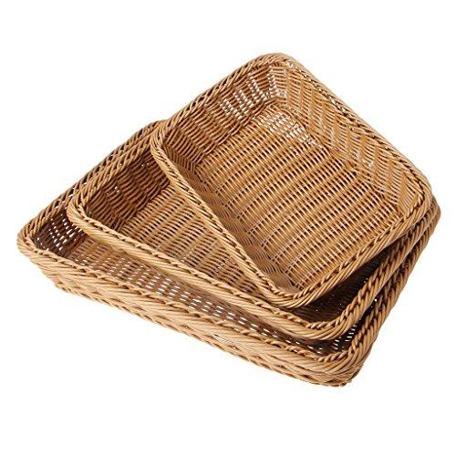 WOWOWO Cesta de plástico Cuadrada para el hogar, Cesta de Almacenamiento de ratán Artificial endurecido, Organizador, contenedores de Frutas y Alimentos