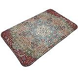 HaiYI-ltd Alfombra de puerta persa vintage antigua, alfombra de bienvenida, alfombra de entrada para interior antideslizante para porche delantero/cocina/lavandería, 49,5 x 80 cm