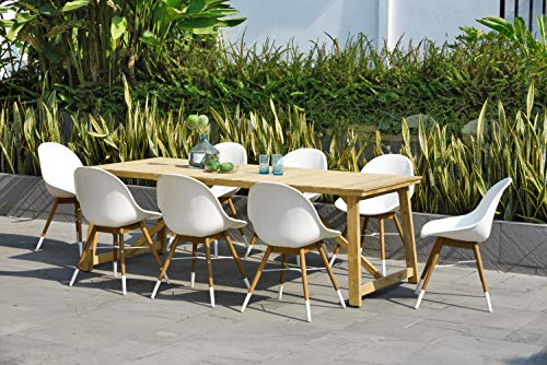 Brampton Doncaster 9-Piece Rectangular Outdoor Dining Set | Teak Table with White Modern Chairs | Perfect for Patio