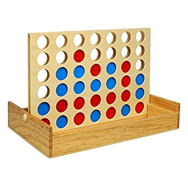 Andux Land 3D Vertical Chess Spatial Thinking Games Wooden 4 in a Row Style Game MZSLQ-01