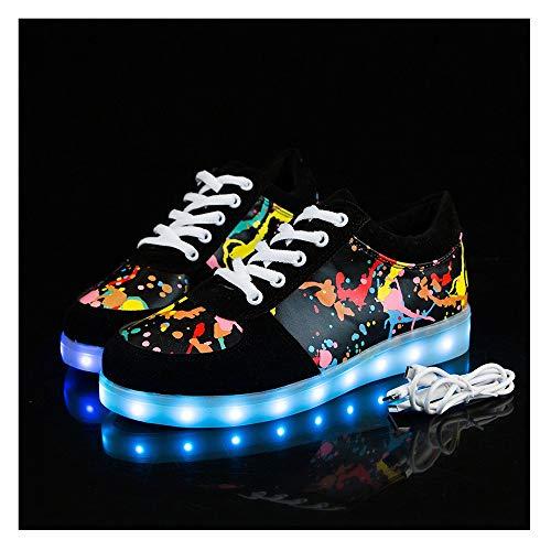 Temptation at dusk zy Blinkende Schuhe,Leuchtende Schuhe, 7 Farben LED Schuhe USB Aufladen Leuchtschuhe Licht Blinkschuhe Sport Sneaker Light Up Turnschuhe Damen Herren Kinder Shoes Größe(27-44) 43