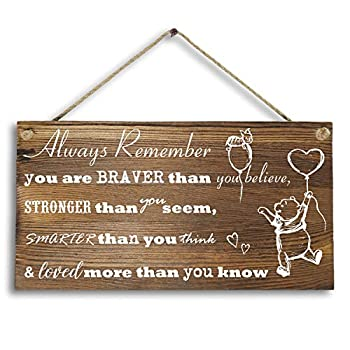 6 x 12  Winnie The Pooh Wood Plank Design Hanging Sign Plaque Inspirational Gift for Kids or Fiendss.