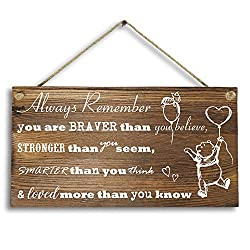 6x 12 Winnie The Pooh Wood Plank Design Hanging Sign Plaque, Inspirational Gift for Kids or Fiendss.
