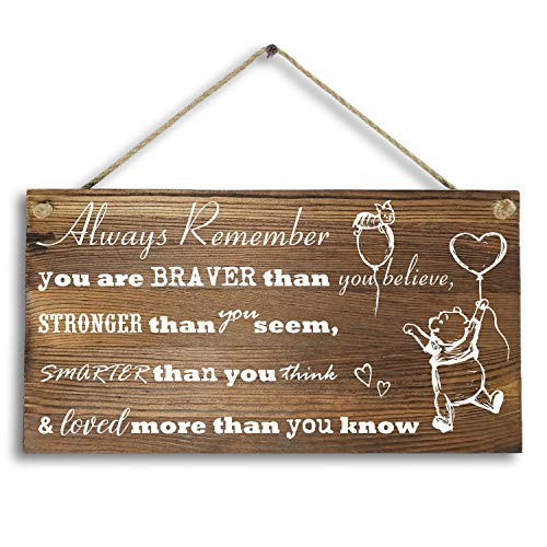 6'x 12' Winnie The Pooh Wood Plank Design Hanging Sign Plaque, Inspirational Gift for Kids or Fiendss.