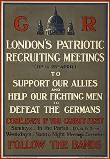 WA125 Vintage WW1 British London Patriotic Recruitment Meeting World War 1 Poster Re-Print - A1 (841 x 610mm) 33