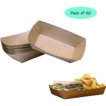 Vikenner - 10 bandejas de cartón desechables de papel kraft para comida de Hotdog, aperitivos, salchichas de hamburguesa, color marrón: Amazon.es: Hogar