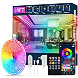 Led Strip Lights,20ft Led Light Strips Music Sync Color Changing RGB Led Strip Built-in Mic,Bluetooth App Control LED Rope Lights with Remote,5050 RGB Led Lights for Bedroom,Home,TV,Party,Christmas