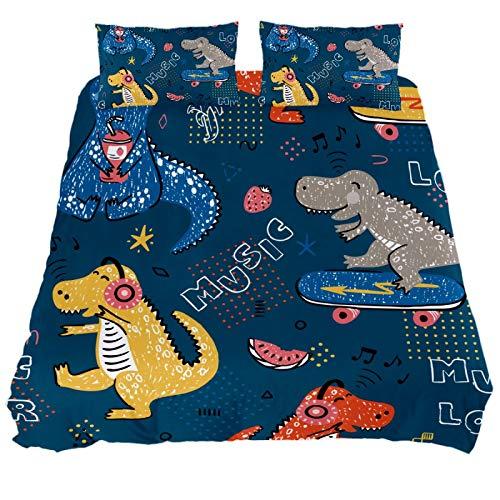 ASIGA Funny Music Dinosaur Double Duvet Cover Set 3 Pieces Bedding Set for Women Men,Bedroom Bed Linen