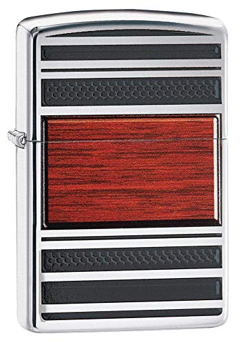 Zippo Steel and Wood Windproof Pocket Lighter - High Polish Ch