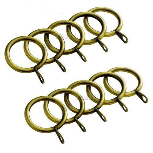 VA - Juego de 12 anillos de cortina de metal para barra de barra de gasa (38 mm de diámetro interno (latón antiguo)