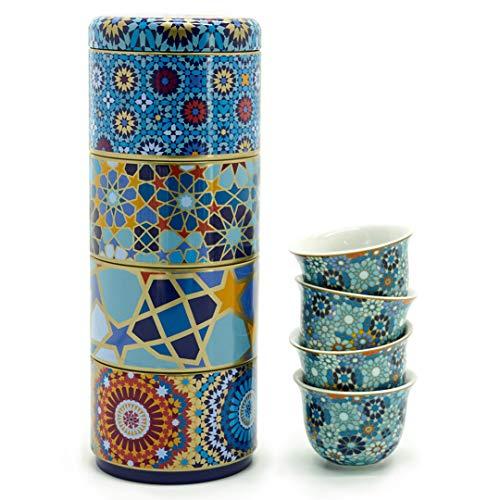 IMAGES D'ORIENT Geschenkset 2 in 1 Metalldosen mit 4x60 ml Porzellan Espressotassen Espressobecher Moccatassen in mediterranem, orientalischem Design