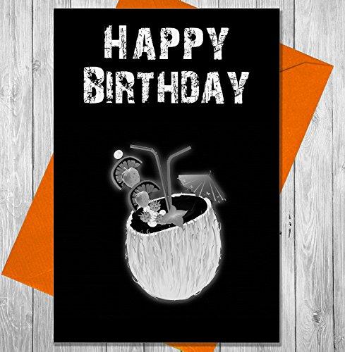 Verjaardagskaart Kokosnoot drinken - Unieke Krijtbord Effect Wenskaart