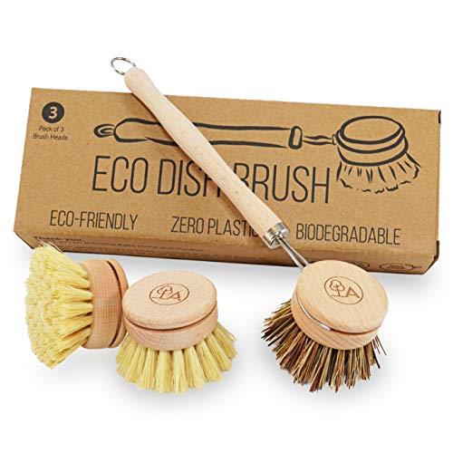 Agile Home And Garden - Cepillo Lavado Ecológico - 3 Cabezales de Reemplazo - Cerda Dura y Suave- Cepillo de Cocina de Madera Sin Plástico - Producto de Limpieza Cero Residuos Para el Hogar - Vegano