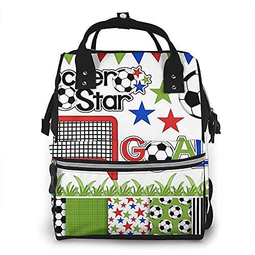 Fußball Fußball Digital Clipart Papier wasserdicht Windel Rucksack, Fach mit zwei Taschen und acht Speicher für Eltern