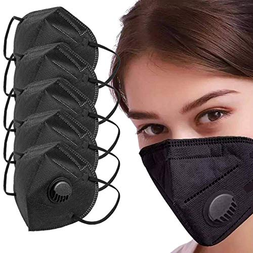 Face Mask For Sale With Valve - 5pcs Black Face Mask - Disposable Washable - Breathing Cover Anti Dust Anti Pollution 5 Layers Non-Woven Breathable Face Masks Respirator