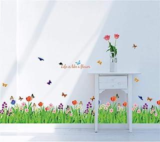 decalmile Pegatinas de Pared Verde Hierba Flores Mariposas