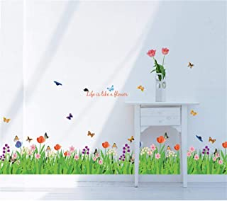 decalmile Green Grass Flowers Butterflies Wall Corner Decals Living Room Bedroom Baseboard Skirting Line Wall Stickers Art