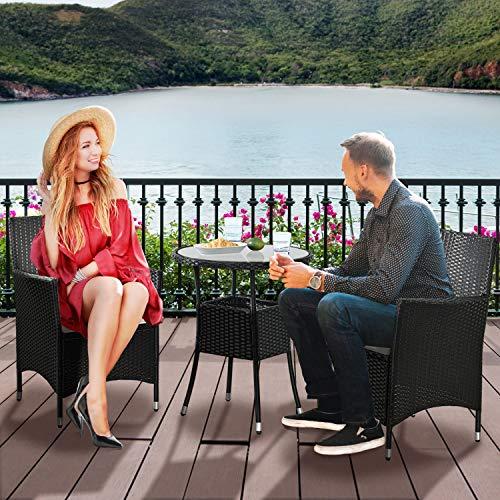 ArtLife Polyrattan Balkon Set Bayamo 2 Personen – Tisch mit Glasplatte & 2 Stühlen – Wetterfeste Balkonmöbel – Auflagen waschbar – schwarz - Creme - 2