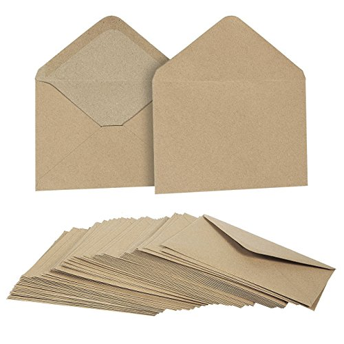 Kraft Paper Envelopes for Baby Shower Birthday Party and Wedding (4.6 x 6.3 In 50 Pack)